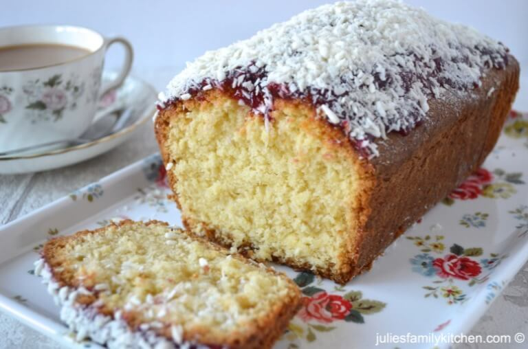 COCONUT AND RASPBERRY JAM LOAF CAKE